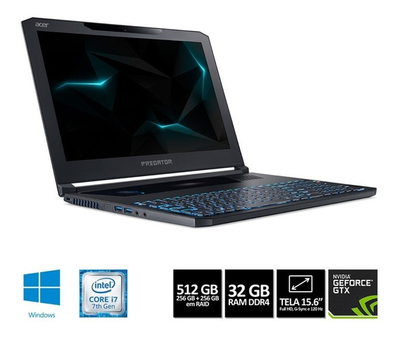 Notebook Gamer Acer Predator Pt715-51-77dd Ci7 16gb 512ssd