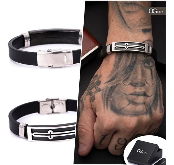 Pulseira Bracelete Masculino Ogrife J-457 Silicone Aço Inox