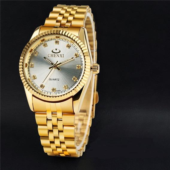 Relógio Feminino Dourado Fundo Branco 100% Original Barato