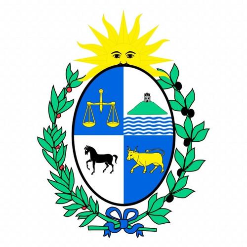 Parche Bordado Escudo De Uruguay De 4-7 Cm. Por 12 Unidades.