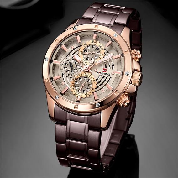 Relógio Masculino Naviforce 9149 100% Funcional Pulseira Aço