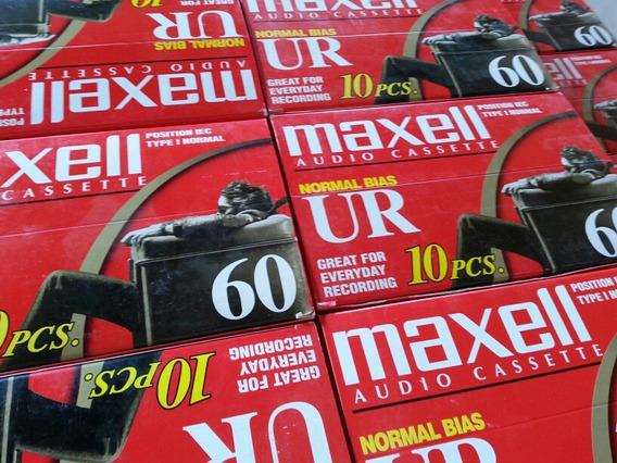 Caixa Fita Cassete K7 Maxell 10 Unidades Ur-60 Virgens