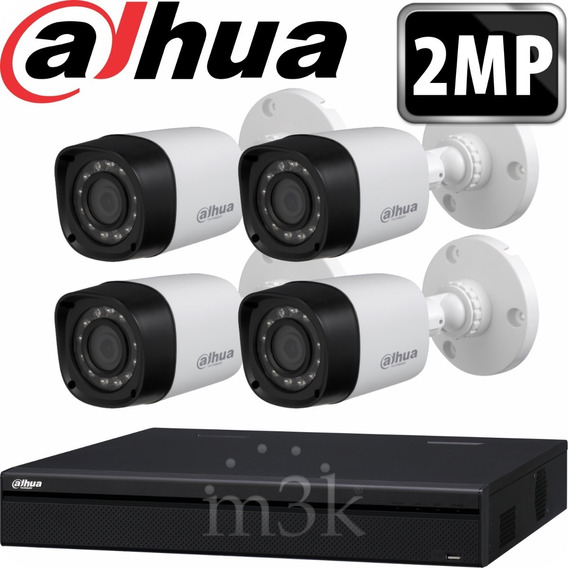 Kit Seguridad Dahua Full Hd Dvr 8 + 4 Camaras 2mp 1080p Exterior Infrarrojas + Ip Visualiza X Celular P2p Cctv