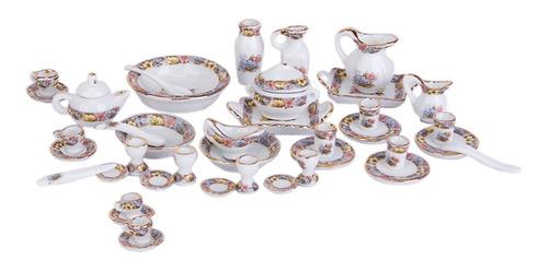 40 Pcs 12ª Casa De Bonecas Miniatura Jantar Louça Porcelan