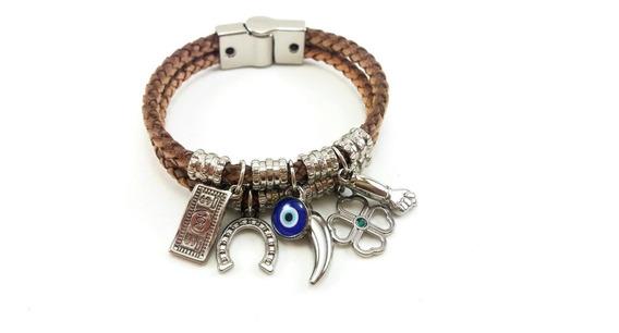 Pulseira Feminina Couro Berloque Olho Grego Sorte Amuletos
