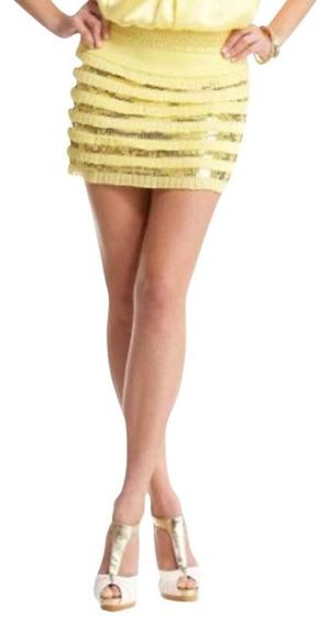 Falda Amarilla Con Lentejuela Marca Bebe.talla Xs Nueva