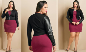 Jaqueta/cotton Detalhe/sintético Plus/size Moda/feminina