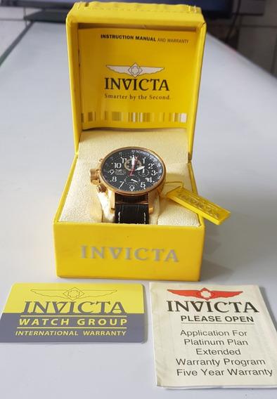 Relógio Masculino Invicta Original Couro Banhado Ouro 18k