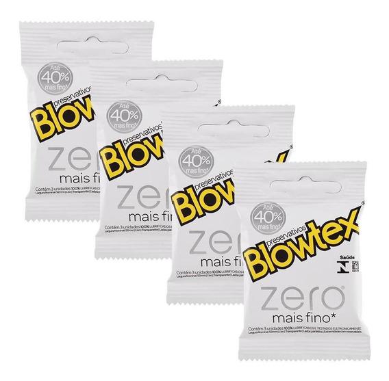 Kit C/ 4 Pacotes Preservativo Blowtex Zero C/ 3 Un Cada