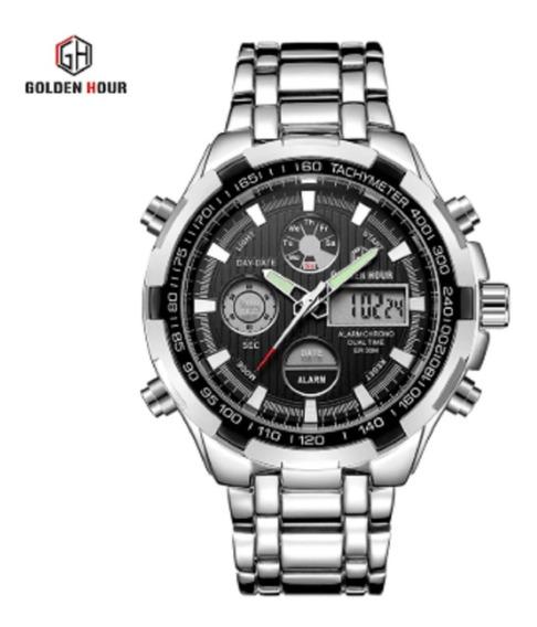 Relógio Masculino Original Aço Inox Golden Hour Gh-108sb