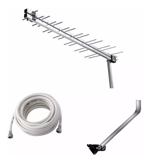 Antena Externa Digital Uhf Hdtv + Mastro De Fixação + Cabo