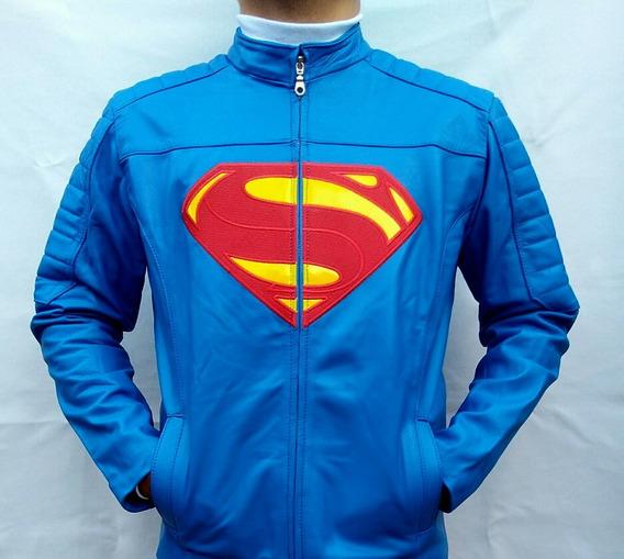 Chamarra Para Caballero En Piel De Primera Calidad Superman
