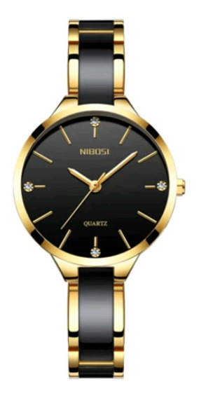 Relógio Luxuoso Nibosi Feminino Preto