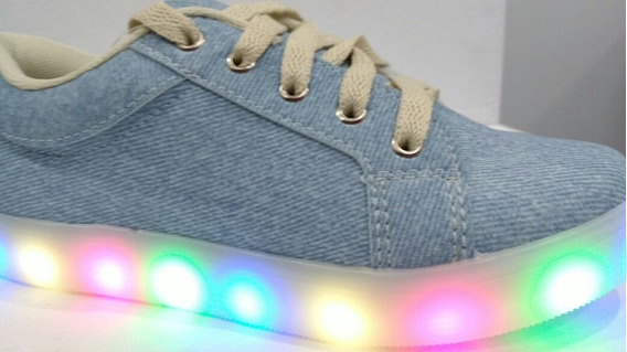 Tênis Infantil Com Luz Colorida Jeans Claro Fuffy Meninas