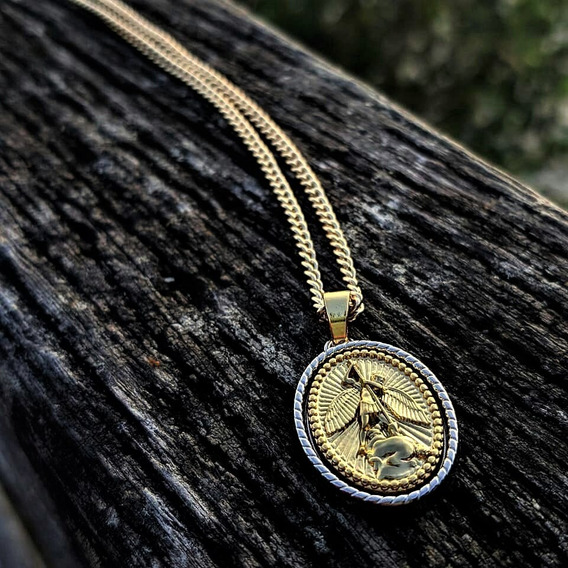 Medalha Miguel Arcanjo Com Corrente Banhada A Ouro