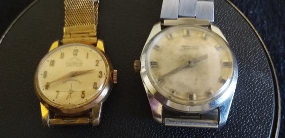Lote 2 Relógios Antigo De Pulso Masculino A Corda