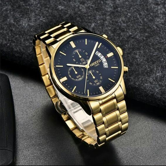 Relógio Masculino Nibosi Original Promoção Acó Inox + Caixa
