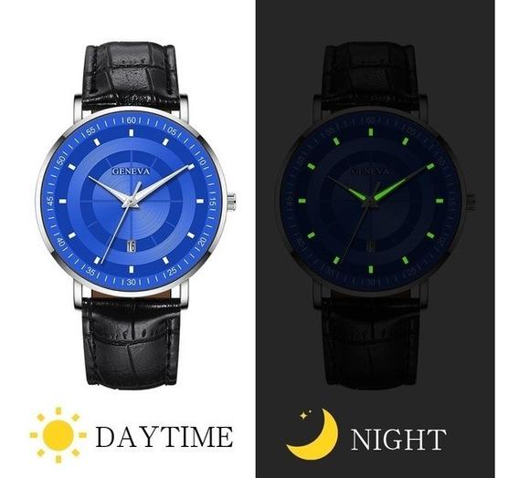 Relógio De Negócios De Luxo Azul/preto