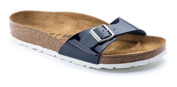 Sandalias Birkenstock Madrid Birko-flor Patent Dress Blue Ls