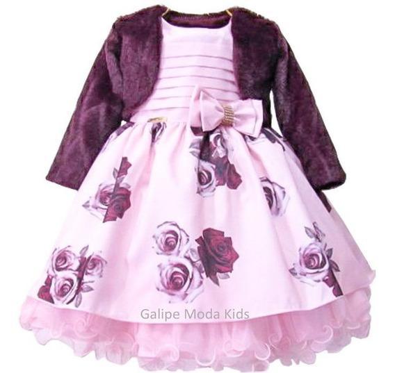 Vestido Bordô E Rosa Infantil Com Bolero 1 Ao 3