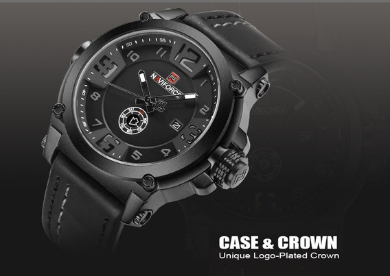 Relógio Masculino Militar Esportivo Couro Naviforce