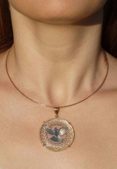 Colar Mandala Feminina Espírito Santo Cristal Banhado A Ouro