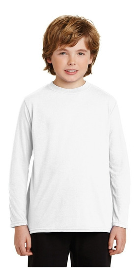 Playera Blanca Para Sublimar Niño Dry Fit Manga Larga