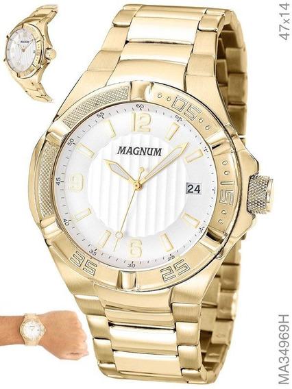 Relógio Magnum Masculino Dourado Aço Ma34969h