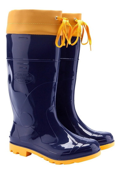 Bota Pvc Impermeável Galocha Azul/amarela C/amarra C/3 Pares