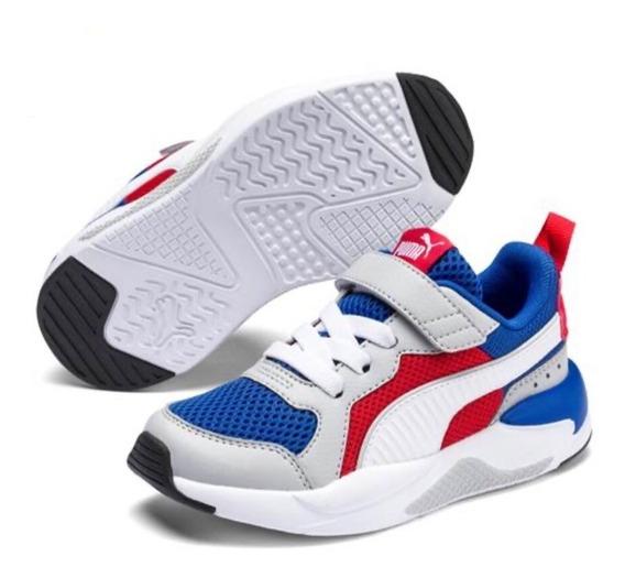 Zapatillas Puma X Ray Ac Ps Niños - Blanco Azul Rojo