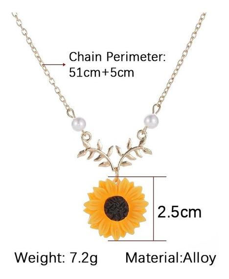 Hermoso Collar Con Girasol, Ideal Para Regalo, C/ Oro