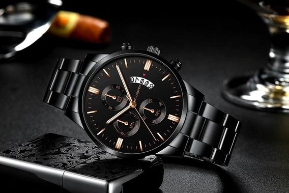 Relógio Cuena Masculino Preto Black Dourado Esporte Aço Inox