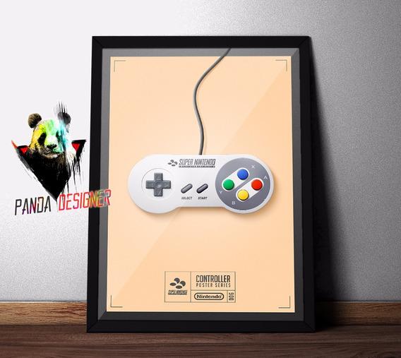 Quadro Nintendo Snes Poster Retro Gamer Nerd Decoração Vidro