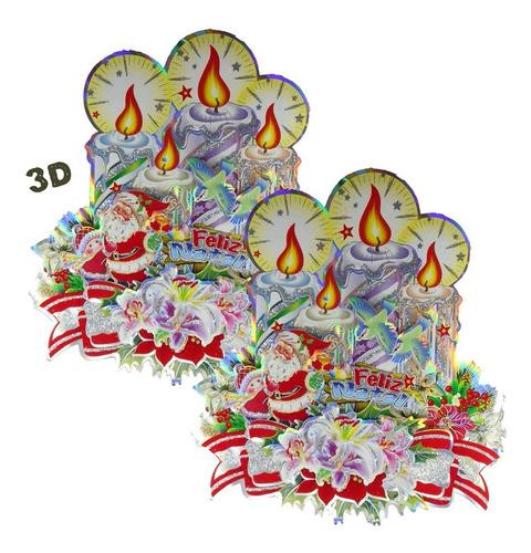 Imagem 1 de 3 de Kit 2 Enfeites De Natal Cartonado Dupla Face