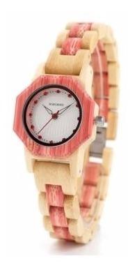 Relógio Feminino Bambu Analóg O10 Bobo Bird + Frete Top