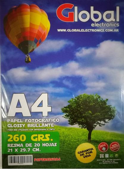 Papel Fotográfico A4 Glossy 260gr Resma X 20 Hojas