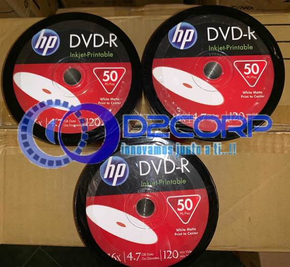 Dvd-r Hewlett Packard Hp Imprimibles 16x 4.7gb 50 Unidades