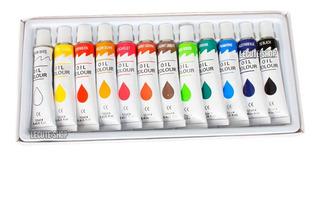 12 Pinturas Oil Colores Acrilica Oleo Acrilico Aceite Dibujo