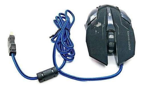 Mouse Gamer Barato Usb Preto Led Rgb 3200dpi Ideal P/ Gamers