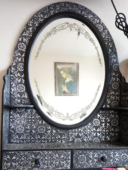 Espejo Estilo Antiguo Oriental Cajonera Con Repujado