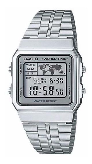Relógio Casio Vintage World Time Prata Unissex A500wa-7df