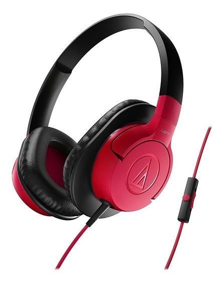 Fone De Ouvido Audio Technica Ath Ax1is Com Mic Vermelho