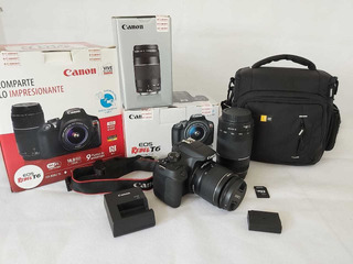 Camara Canon Eos Rebel T6+lente18-55mm+lente75-300mm+funda