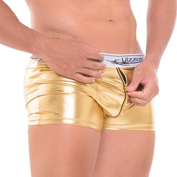 Nova Fantasia Cueca Boxer Zipper Na Frente Dourada Ou Prata Sensual