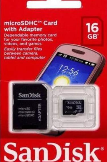 Cartão De Memória 16 Gb Sandisk Micro Sd, Lacrado