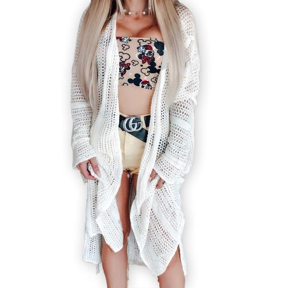 Saida De Praia Longa Vestido Crochê Branco Envio Imediato Manga Longa Kimono Ref 76b Spl
