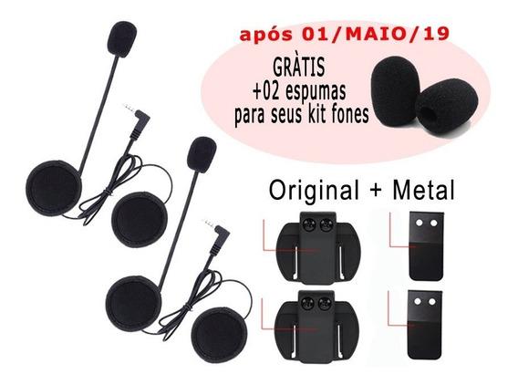2 Kit Fones / Mic Comunicador V6 + 2 Clip Metal + Espumas