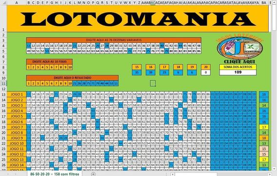 Planilha Da Lotomania Com 86 Dez Com 10 Fixas Em 158 Jogos