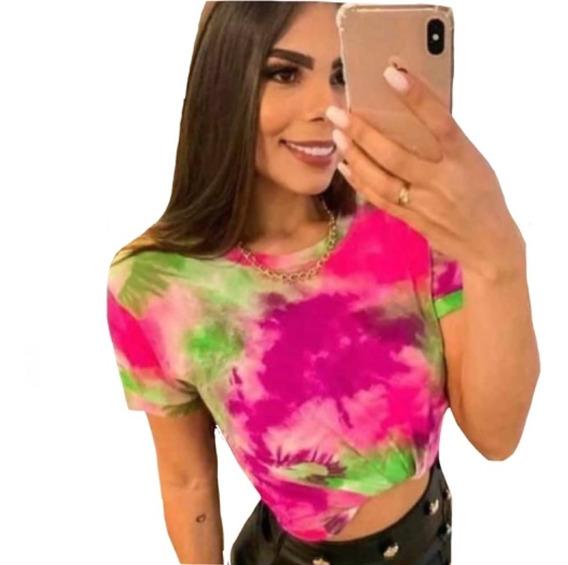 Blusa Blusinha Camisa T-shirt Tie Dye Roupa Feminina Top