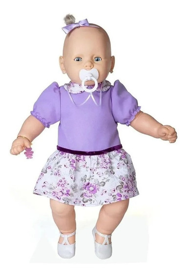 Boneca Meu Bebe Vestido Lilas Estrela 60 Cm Bonellihq H18